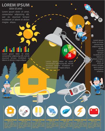 energetics: Infographics energetics, energy industry, energetics and house