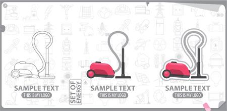 white goods: Vacuum cleaner logo, energy, white goods Illustration