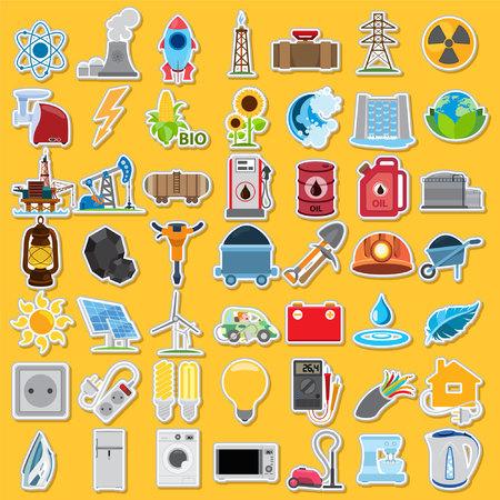 smoothing: Energetics icons, vector energetics icons set, stickers