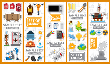 energetics: Set of energetics icons and , energy, energetics, stickers Illustration
