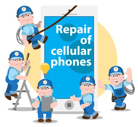 cable telefono: Reparación de teléfonos celulares, diagnóstico de problemas concepto