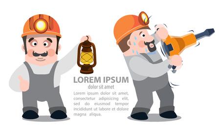 kerosene lamp: Miners with a jackhammer and a kerosene lamp, infographics