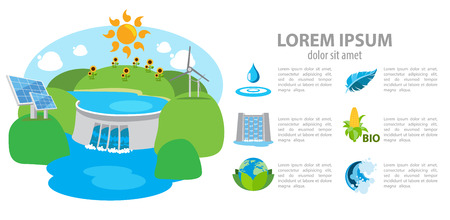 hydroelectric: Isometric hydroelectric power station, dam, infographics Illustration