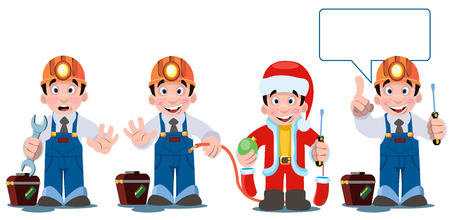 Professional electrician with electricity tools and equipment