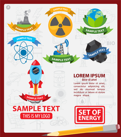 energetics: Energetics  with ribbon, energetics infographics Illustration