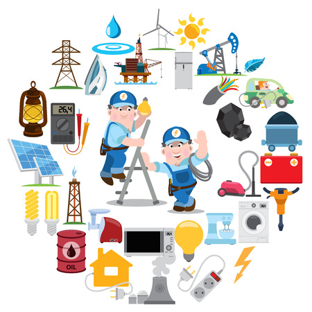 cartoon cleaner: Round composition with electricians, industry, energetics, electricity