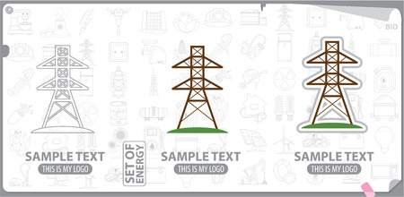 insulators: Power transmission tower , energetics Illustration