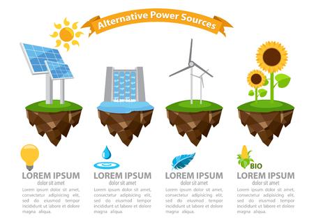 alternative energy sources: Infographic alternative power sources, the energy infographic, modern infographic template, energetic, infographic with ribbon