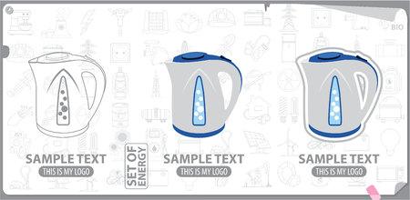 white goods: Electric kettle logo, white goods Illustration