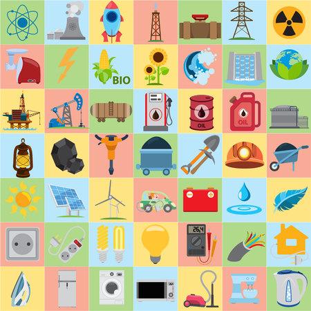 energetics: Energetics icons, flat vector energetics icons set