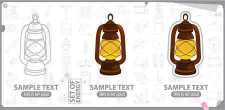 energetics: Old kerosene lamp, energy, energetics Illustration
