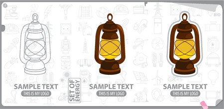 kerosene: Old kerosene lamp, energy, energetics Illustration