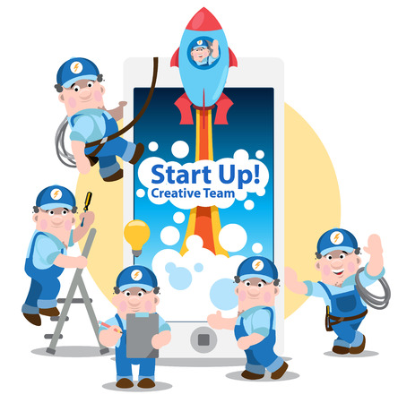 work worker: Conceptual of start up, new business project