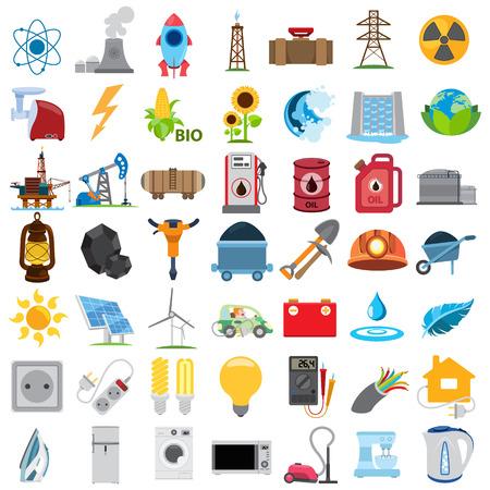 energetics: Energetics icons, vector energetics icons set Illustration