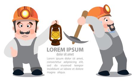 kerosene: Miners posing with a pickaxe and a kerosene lamp, coal industry Illustration