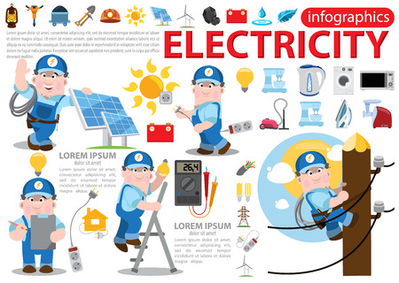 save electricity: Electricity infographics, energetics, professional electrician concept with electric man