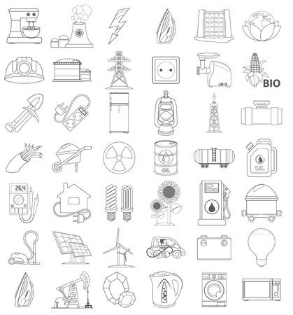 energetics: Outline icons of energetics, contour icon, line icon