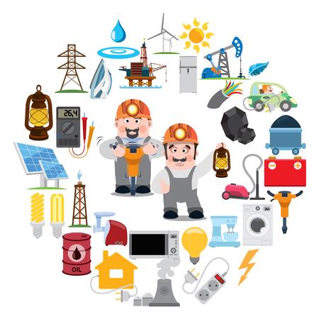 Runde Komposition mit Bergbau, Industrie, Energetik