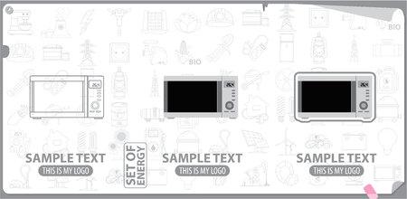 Mikrowelle, weiße Ware, Energie Vektorgrafik