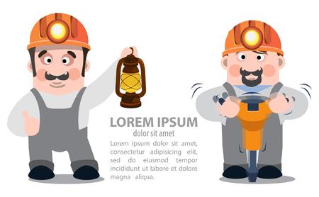 prospector: Mineros con un martillo neumático y una lámpara de queroseno, infografía