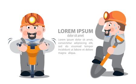 Miners mit einem Presslufthammer und einer Schaufel, Infografiken