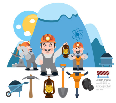 pick axe: Infographics miners, miner working, professional miner, coal mine Illustration