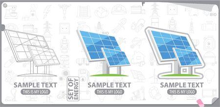 energetics: Solar panel, solar battery , energy, energetics Illustration