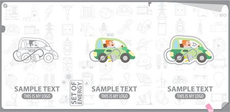 energetics: Electric car , energetics, energy Illustration