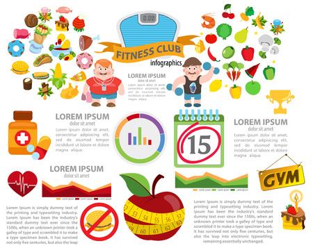medical abstract: Fitness and diet infographic, healthy lifestyle Illustration