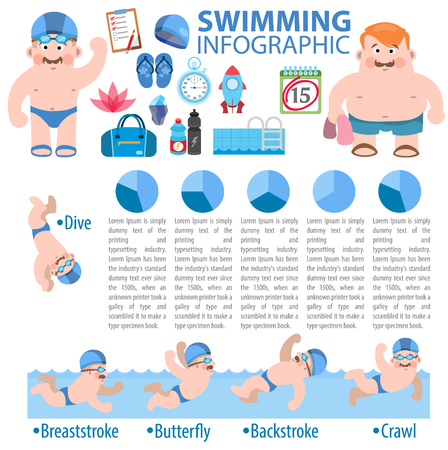 swimwear: Swimming infographic, pool, healthy life style
