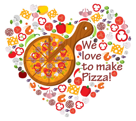 We love to make pizza, food, Italy, composition, pizza love, heart shape with vector icons Иллюстрация