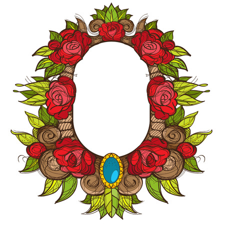 Beautiful oval frame with roses. Baroque decorative border of flowers. Floral element for design of congratulations. Illustration
