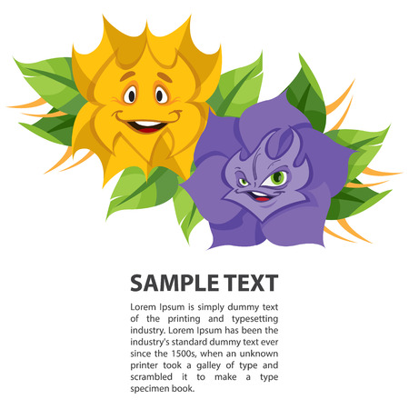 Fabled flowers smiling and talking. Template with space for text design. Illustration