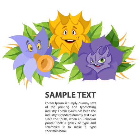 speakers: Fabled flowers smiling and talking. Template with space for text design. Illustration