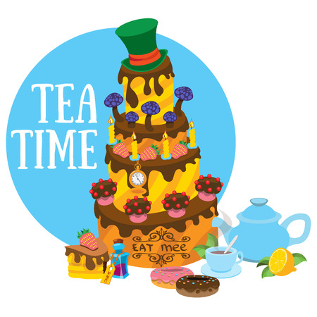 Big cake and pastries. Tea party. Refreshments. Illustration to the fairy tale Alices Adventures in Wonderland. Illustration