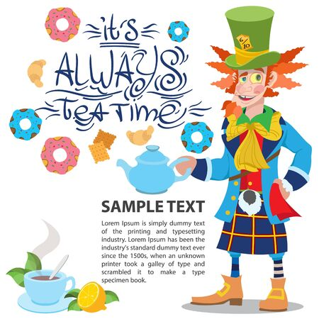 Hatter with a teapot. Illustration to the fairy tale Alices Adventures in Wonderland. Template with place for text for design.