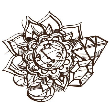 artifact: Fairy pocket watch black and white outline of a sketch. Illustration to the fairy tale Alices Adventures in Wonderland.