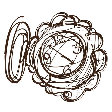 妖精のポケット時計黒と白概要スケッチ。不思議の国のアリスは、おとぎ話の冒険の図。