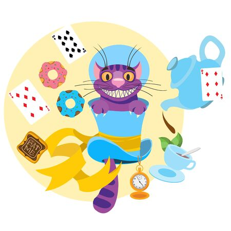 Cheshire cat in a hat and a variety of treats for tea. Illustration to the fairy tale Alices Adventures in Wonderland.