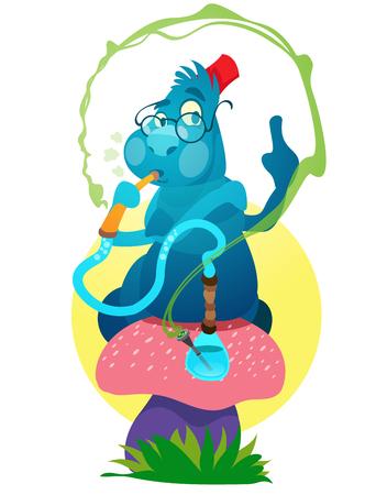 Blue Caterpillars on a magic mushroom. Illustration to the fairy tale Alices Adventures in Wonderland.