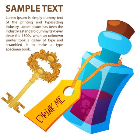 魔法の万能薬とガラス瓶の中の金色の鍵。不思議の国のアリスは、おとぎ話の冒険の図。テキスト テンプレート。  イラスト・ベクター素材