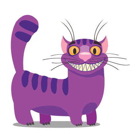 artifact: Cheshire Cat. Illustration to the fairy tale Alices Adventures in Wonderland. Purple cat with a big smile standing.