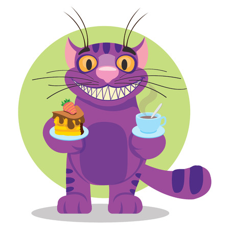 Cheshire Cat. Illustration to the fairy tale Alices Adventures in Wonderland. Purple cat with a big smile offers a cup of tea and cake.