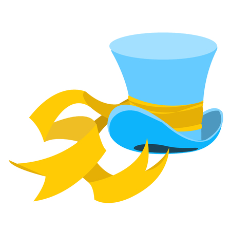 sombrero de mago: Blue wizard hat with a long yellow ribbon. The old mans headdress. Cylinder gentleman. Hat shop. Vectores