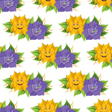 anthropomorphous: Fabulous flower from the fairy tale Alices Adventures in Wonderland. Seamless pattern of yellow and lilac roses. Illustration