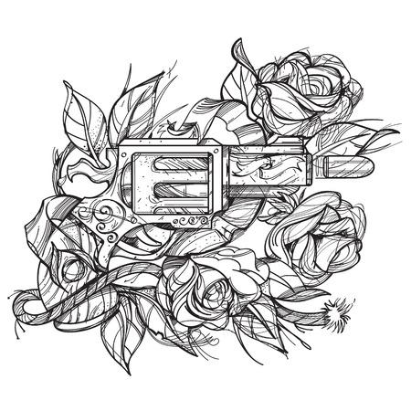 Boceto Del Tatuaje Con Una Daga Y Rosas. Ilustración Del Esquema ...