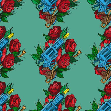Seamless pattern a gun and roses on olive background. Design of surface pattern.