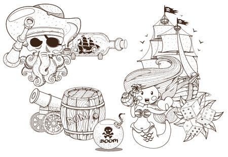 Set Illustrationen Zum Thema Der Piraten Und Meeresbewohner. Märchen ...