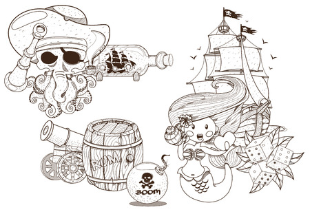 Set of black and white illustrations for coloring outline of pirated items. The Little Mermaid and The Jolly Roger.