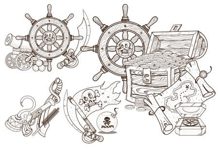 Piraten-Design. Die Kleine Meerjungfrau Und Die Jolly Roger Setzen ...